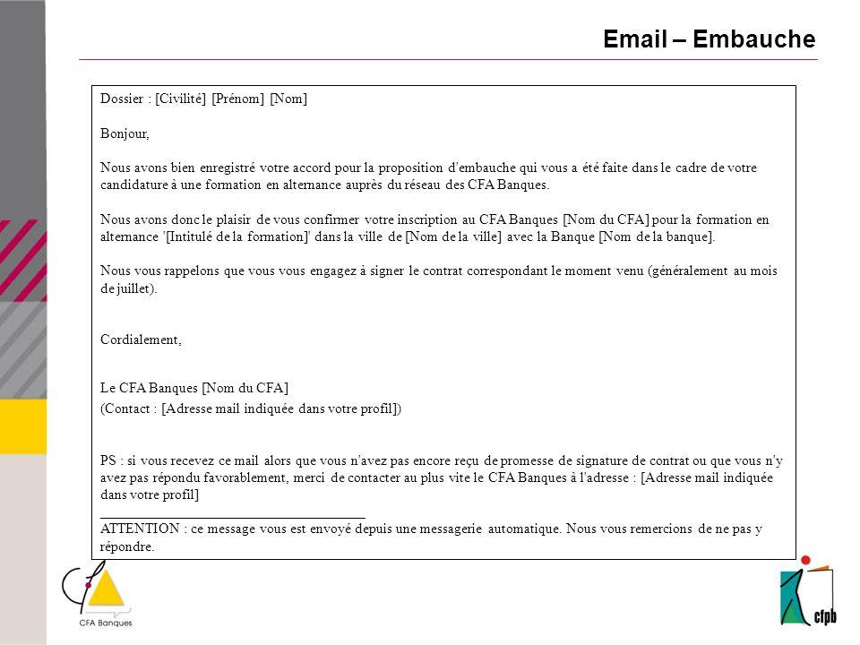 Email – Embauche Dossier : [Civilité] [Prénom] [Nom] Bonjour,
